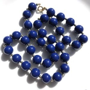 """Vintage Bead Necklace 24"""" Beaded Royal Blue"""